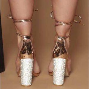 b2e090ea8f4 A Mermaid s Epiphany Shoes - 🆕Femme Fatale Diamanté Perspex Heels Rose Gold